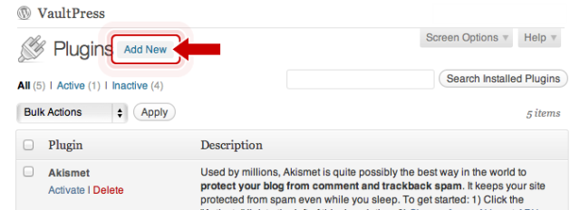The Add New button can be found at the top of the Plugin page, as well as in the sidebar under Plugins.
