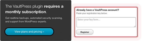 VaultPress will ask for your registration key.