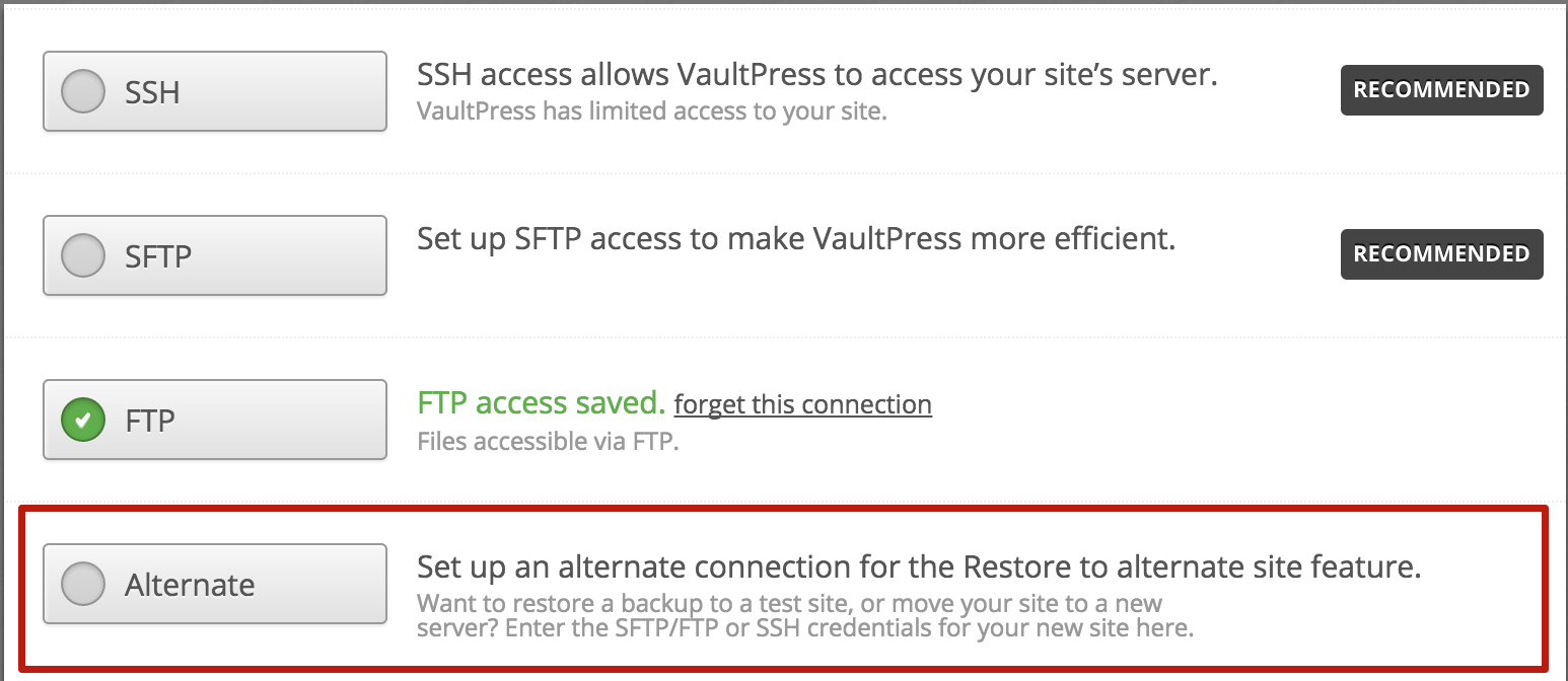 Restore to a new site | VaultPress | Help