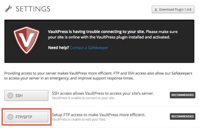 Bluehost FTP   VaultPress   Help